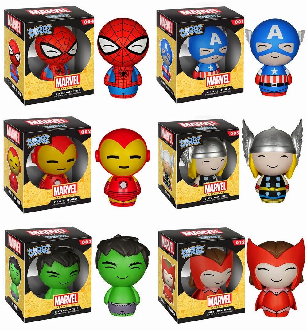 Marvel Dorbz Vinyl Figures Series 1 by Funko x Vinyl Sugar - Spider-Man, Captain America, Iron Man, Thor, Hulk & Scarlet Witch