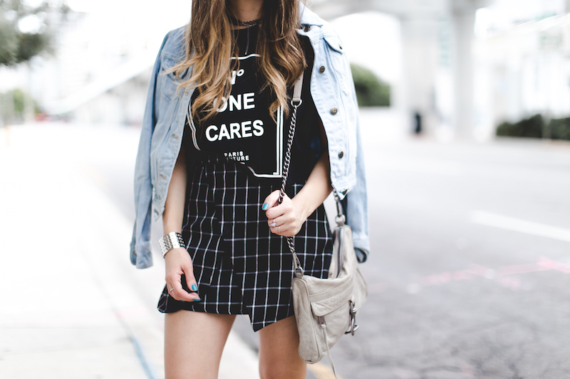 romwe, plaid skirt, jean jacket, mini mac, rebecca minkoff, converse, forever 21, clubmaster sunglasses, rayban, miami fashion blogger, nany's klozet