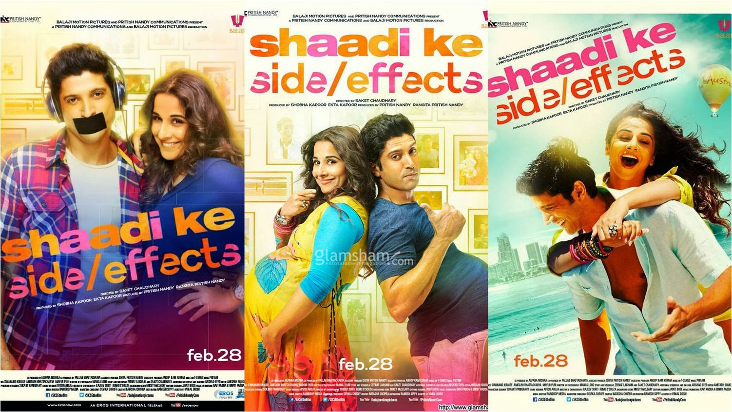 Farhan Akhtar and Vidya Balan in official posters of Shadi Ke Side Effects movie