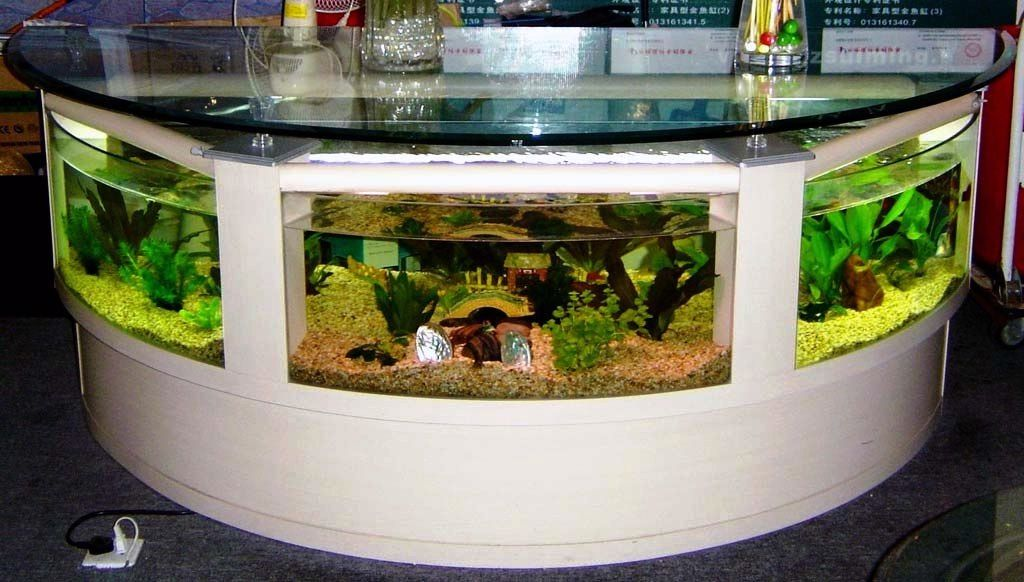 model meja ruang tamu aquarium unik