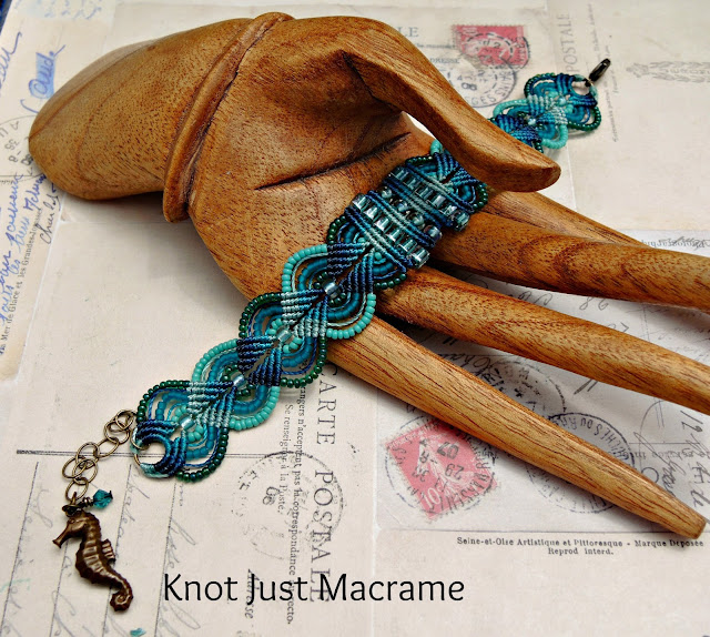 Ombre teal micro macrame bracelet by Sherri Stokey of Knot Just Macrame