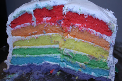 six layer rainbow cake
