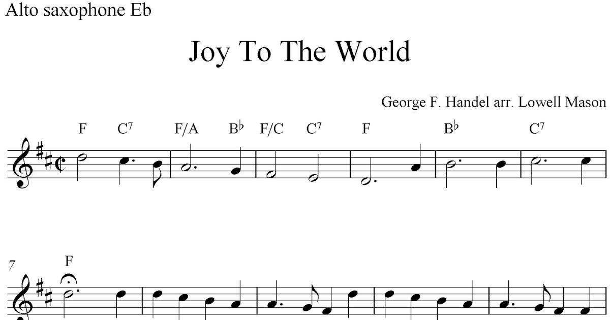 Joy To The World, free Christmas alto saxophone sheet music notes