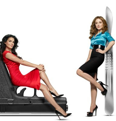 Angie Harmon and Sasha Alexander of Rizzoli and Isles