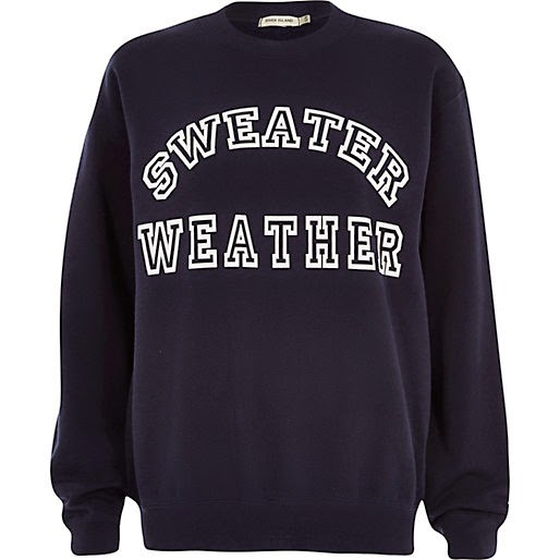 river island navy sweater
