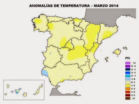 Anomalía en la temperaturas en marzo 2014.