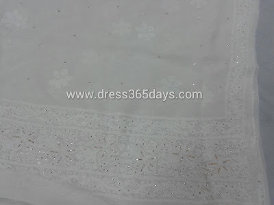 Designer Silver Badla work in Chikankari Embroidery in Dupatta