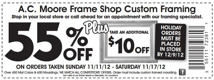 acmoore coupons 55 off november 2012
