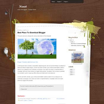 Noot Blogger Template. blogger template from wordpress theme. girly blogger template
