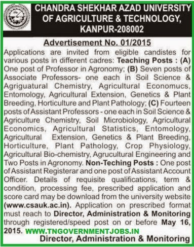 Chandra Shekhar Azad University of Agriculture & Technology Recruitments (www.tngovernmentjobs.in)