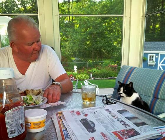 foto si kakek dan kucingnya sarapan bersama