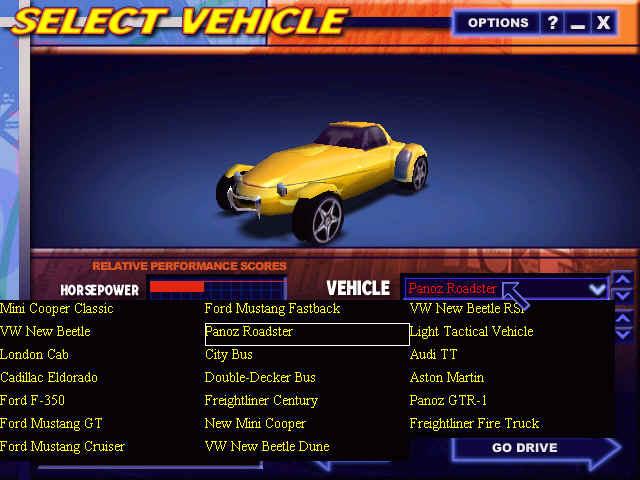 Midtown Madness  Car List