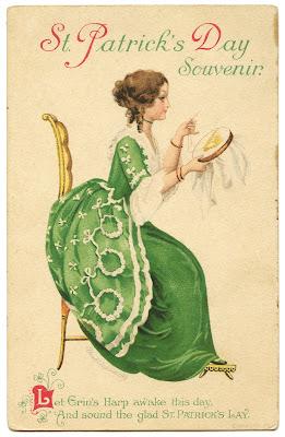 День Vintage Святого Патрика Image - леди с арфой