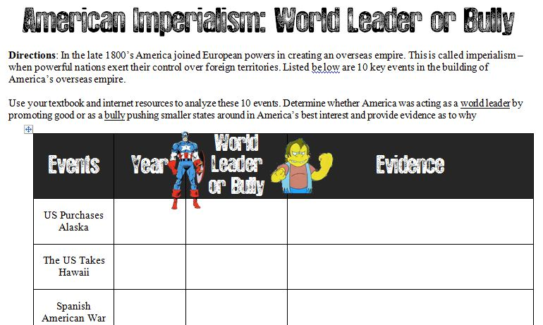 Imperialism Lessons Tes Teach – Spanish American War Worksheet