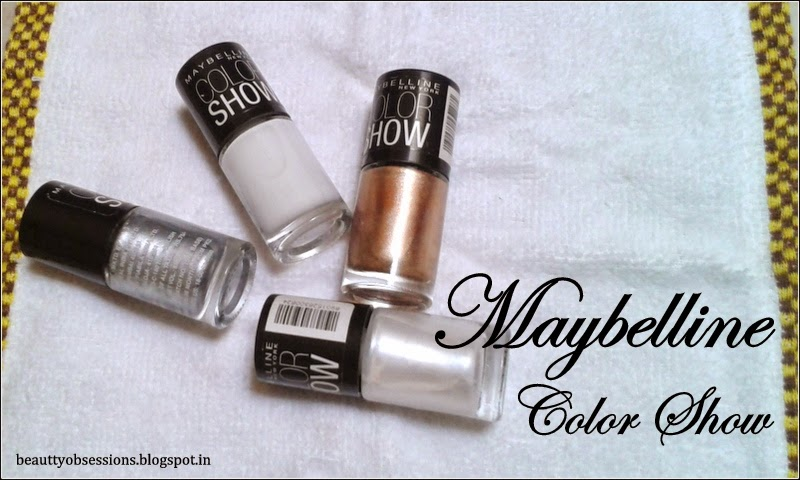Maybelline Colorshow Nail Paints Review , NOTDs #1 ( Porcelain Party,  Moon Beam, Silver Linings & Bold Gold )