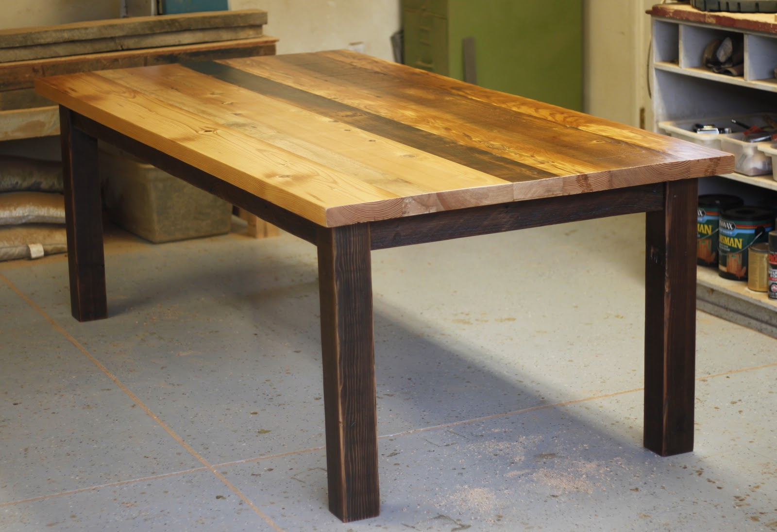 ... | Reclaimed Wood Furniture: Patchwork Dining Table w/ Wood Base