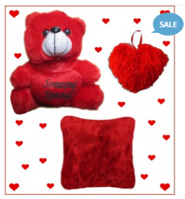 Stophere Valentine Red Deal - Teddy, Heart & Love Cushion