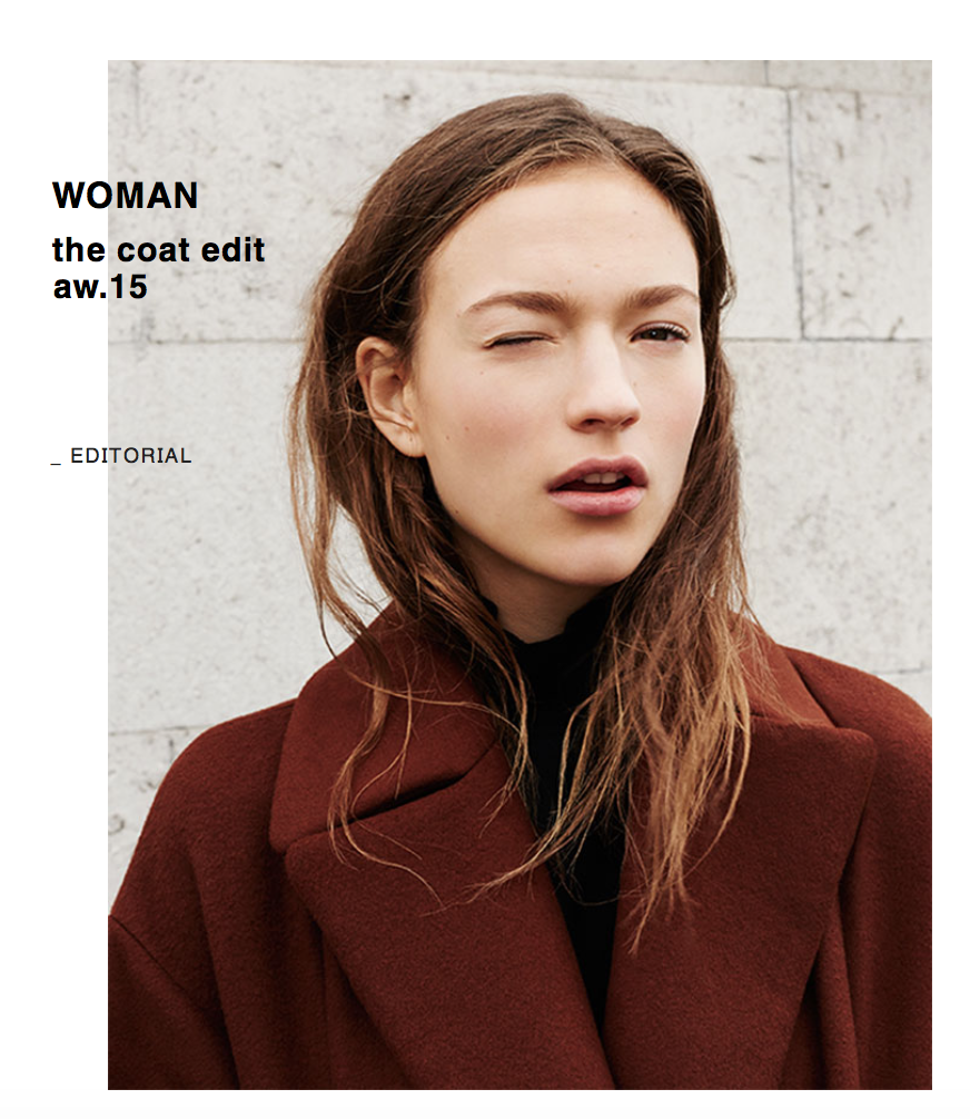 digital publishing zara website design the main thing that you notice whilst you are on the homepage is the zara logo and the editorial images that are showing the recent designs