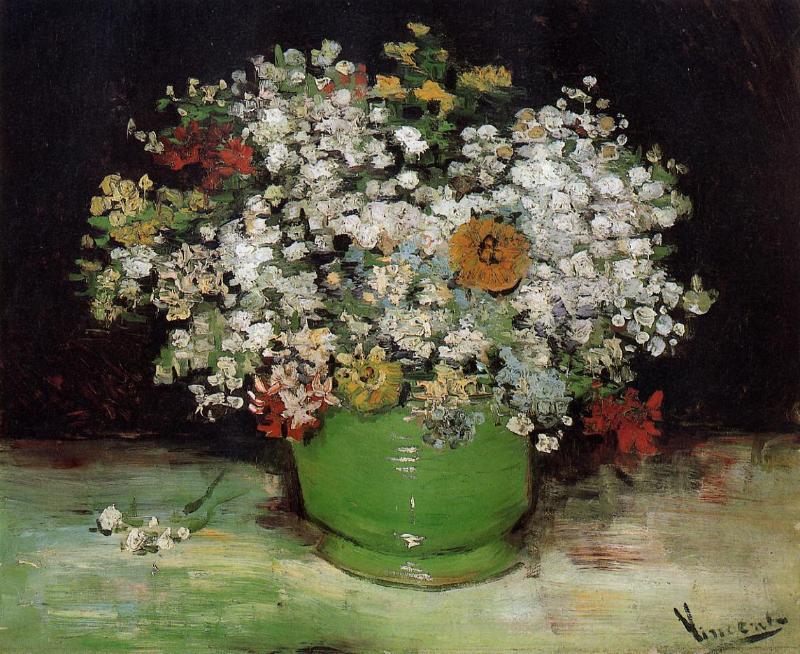 Flowers by post vase - 1886 Vase With Zinnias And Other Flowers Oil On Canvas 49 5 X 61 Cm