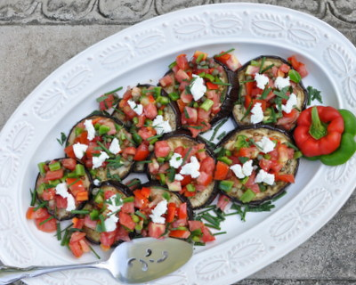 Roasted Eggplant Salad with Tomato-Caper Salsa, another Easy Summer recipe ♥ KitchenParade.com. A simple, wondrous late-summer salad. Low Carb. WW2.