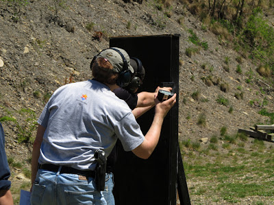 shooter tries his tactics at solving an IDPA problem