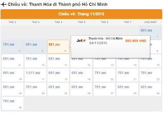 Vé máy bay Thanh Hóa vào Tp Hồ Chí Minh tháng 11