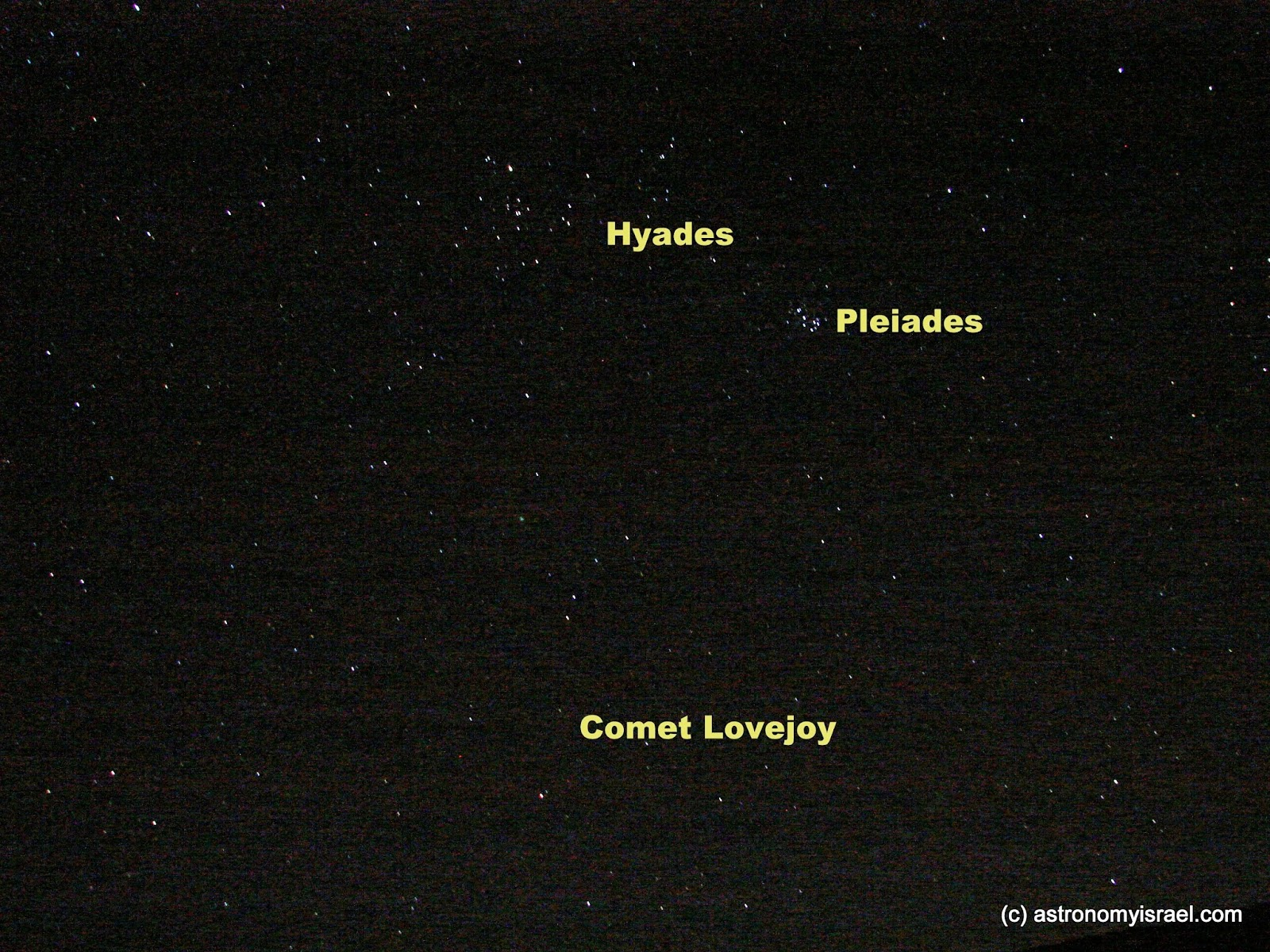 Comet Lovejoy, Pleiades, Hyades, Mitzpe Ramon, Astronomy Israel