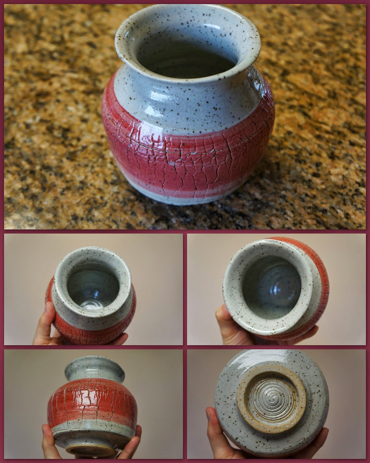 Sodium silicate crackled ceramic / pottery vase in pink/red/white tones.