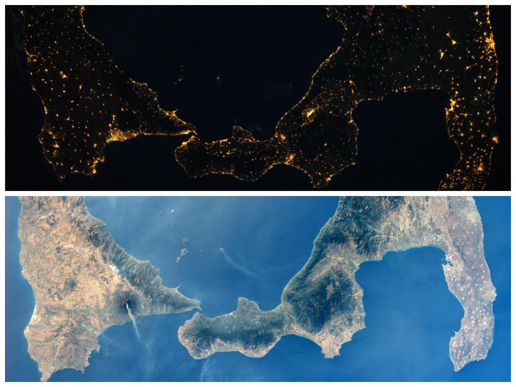 Ночное и дневное фото южной Италии. Видно как извергаются вулканы Этна и Стромболи