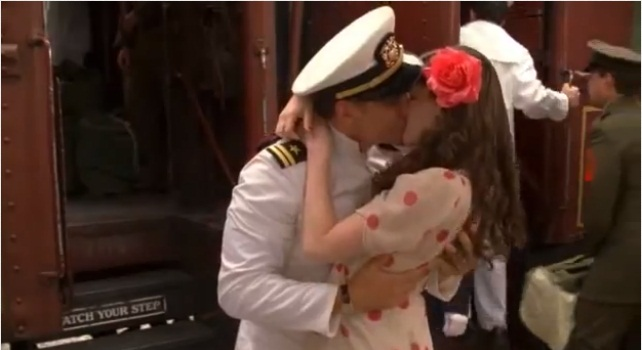 Caroline Shares A Kiss With His Navy Pilot Husband Neil Before He Leaves  For The War