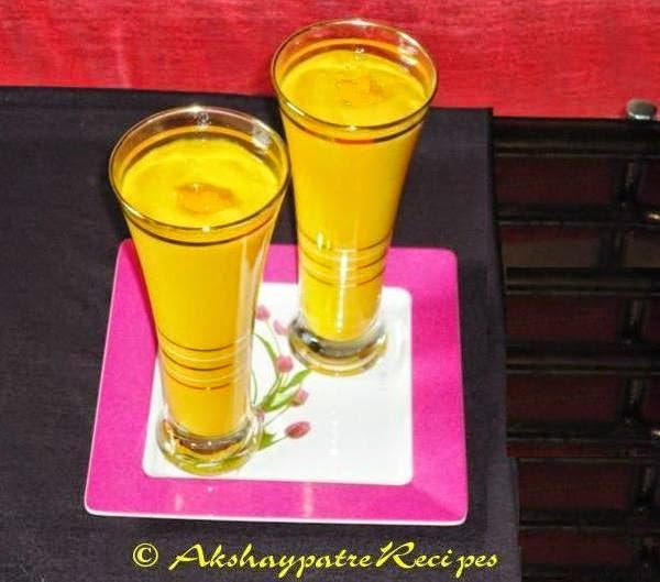 mango lassi in serving glasses
