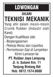 JOB Kerja Lampung PT. Rubber Jaya Lampung