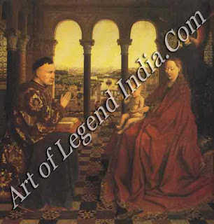 "The Great Artist Van Eyck Painting ""The Madonna with Chancellor Rolin"" c. 1435 26"" X 241/2"" Louvre, Paris"