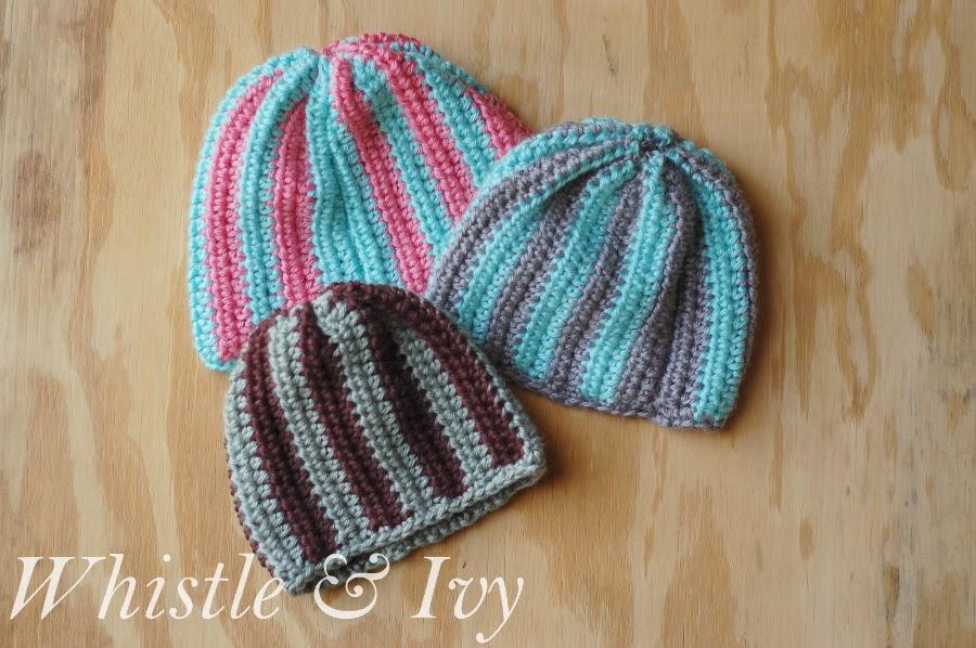 free crochet pattern vertical stripe baby beanie