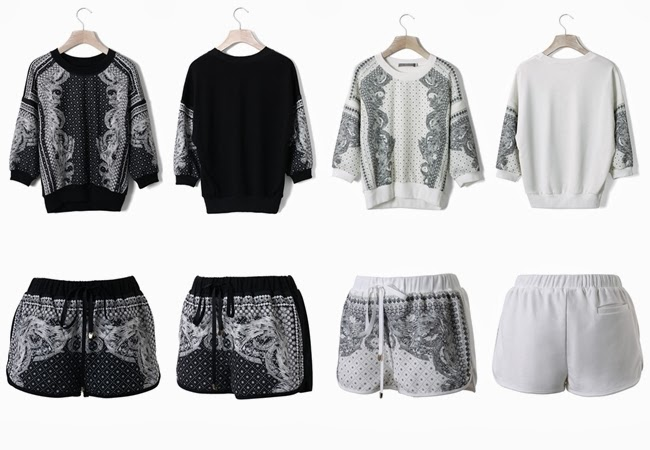 Chicwish Black / White Baroque Pattern Top and Shorts Set 15 Look