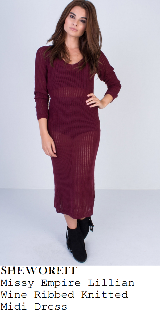 lauren-pope-wine-purple-sheer-knit-midi-dress