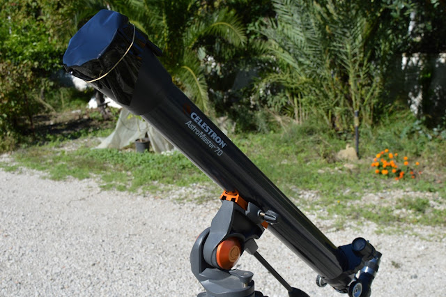 Solar filter attached to the telescope.