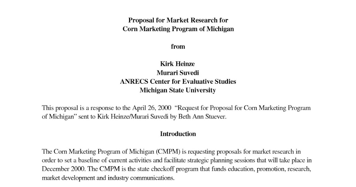 Order marketing research proposal