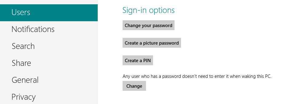 Disable login screen windows 8