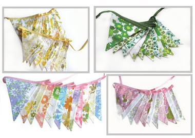 Vintage Retro Fabric Bunting : Ideal for a Party, Wedding