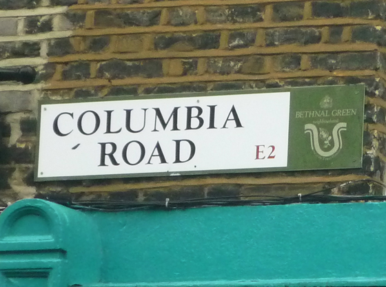 sign saying columbia road