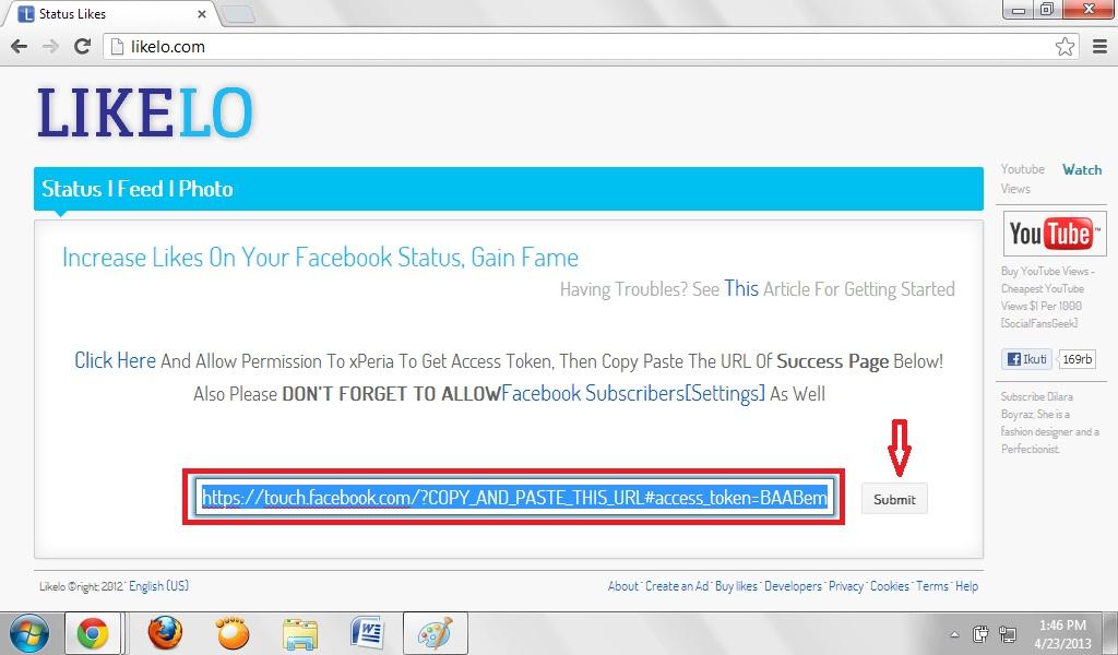 lalu pastekan pada tab awal likelo.com