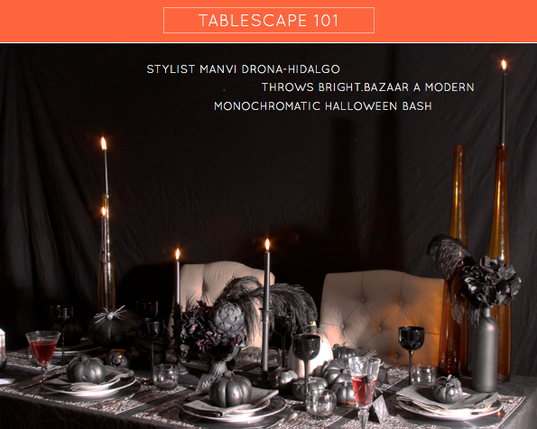 tablescape 101 monochrome halloween bash