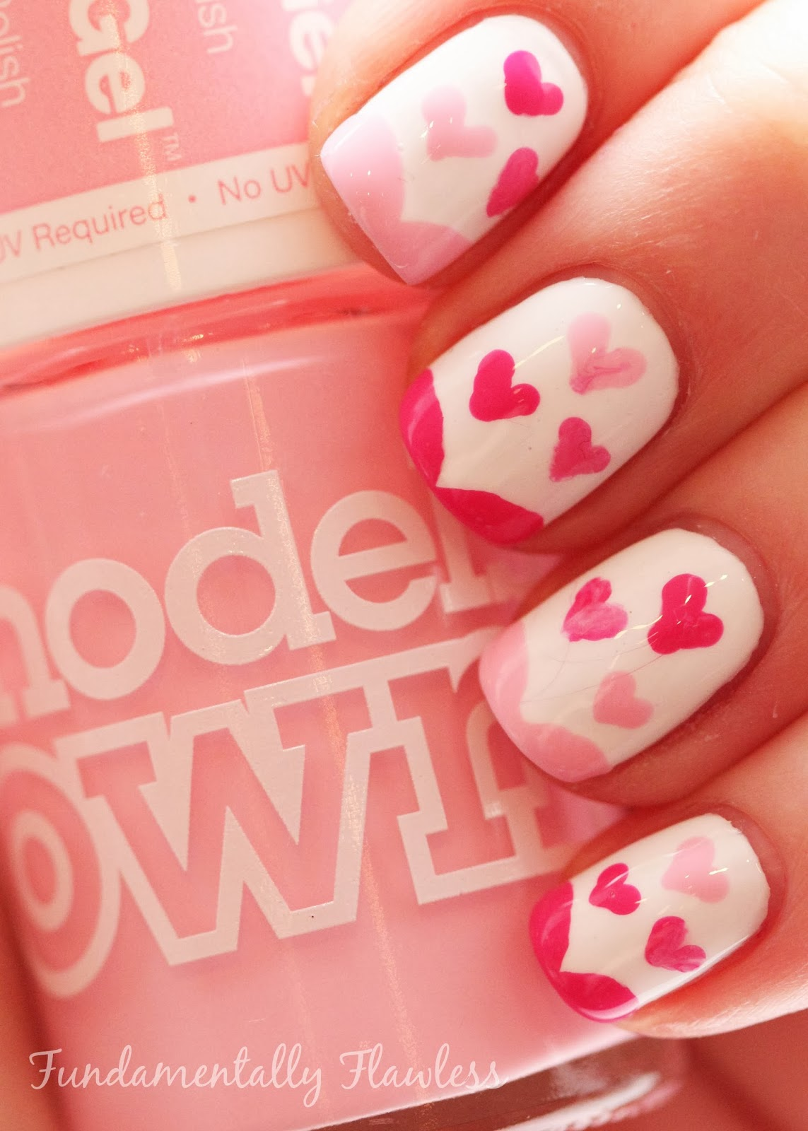 Valentine's Day nail art with Models Own Pink Veneer