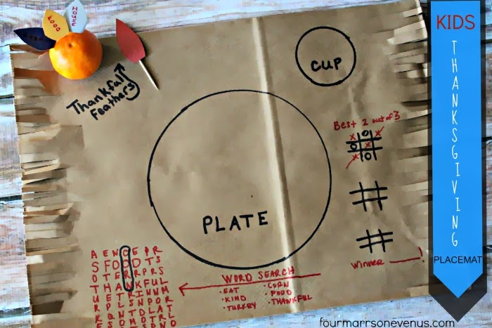 Kids Thanksgiving Placemats