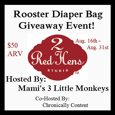 TeddyOutReady Rooster Diaper Bag Giveaway US CAN