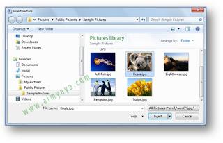 gambar dialog untuk penyisipan gambar di dokumen Microsoft  Word