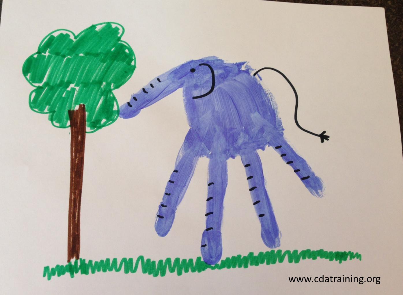 Elephant Hand Their Hand Print Elephant