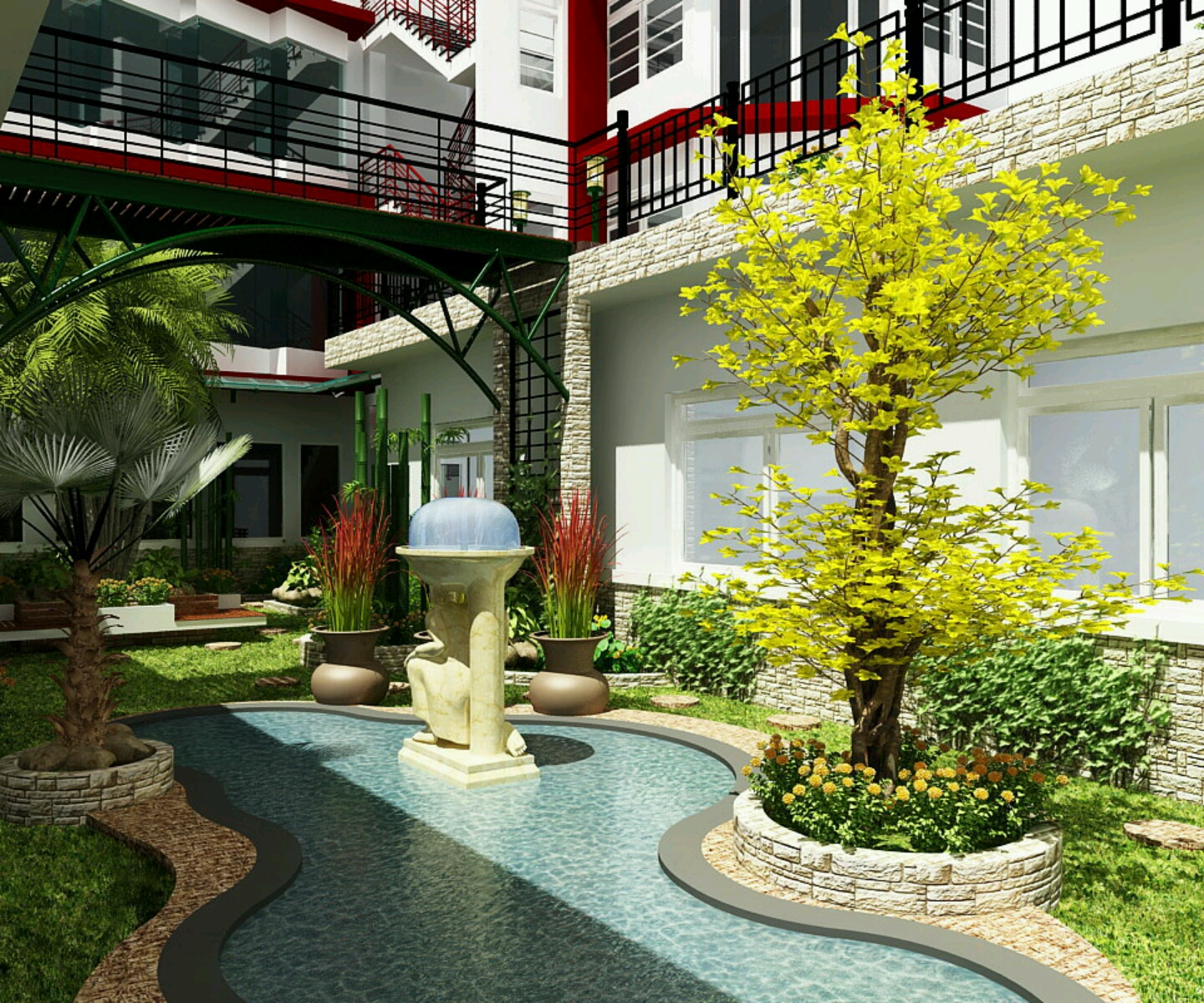 New blog here modern garden house design for Modern garden design ideas
