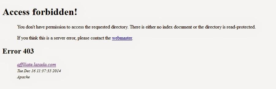 Lazada Affiliate Access Forbidden- Error 403